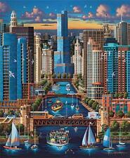 DOWDLE FOLK ART COLLECTORS JIGSAW PUZZLE CHICAGO RIVER 500 PCS #00257