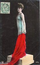 BD527 Carte Photo vintage card RPPC Femme woman danse robe dress fashion mode