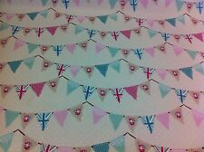 Fryett`s Cotton Pink Bunting Shabby Chic Fabric for Curtain/upholstery Crafts