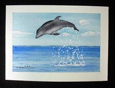 Underwater, Dolphin, Ocean, Nautical Original Watercolor Painting, Wall Art Deco