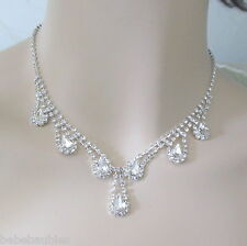 FOUR Necklace Sets BRIDAL WEDDING BRIDESMAID GIFT Crystal Prom Jewelry SILVER SP