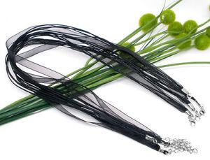 2x Halskette Organza Baumwolle gewachst Schwarz ca. 43cm