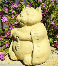 SMALL MEDITATING CAT Stone Kitten Outdoor Buddha Sculpture Statue Art Figure (O)