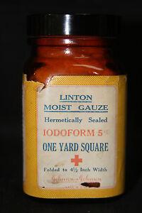 Vintage Linton Moist Gauze Brown Amber Glass Bottle by Johnson & Johnson