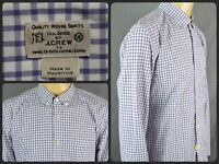 J.CREW Quality Woven Blue Check Gingham L/S Btn Front Dress Shirt For Work XL