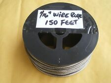 "STAINLESS STEEL 1-1/6"" WIRE ROPE 150 FEET, 400 LBS TEST 7X7 STRAND+50 SLEEVES"