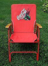 Vtg Coca- Cola red canvas Folding Chair (Coke) Metal / wood handles bottle cap
