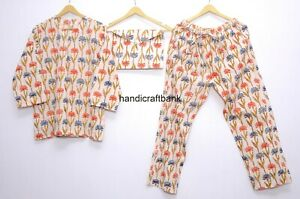 Hand Block Cotton Floral Print Women Night Suit Sleepwear Loose Clothing  Pj Set