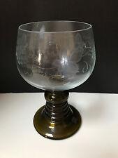 Vintage Green Spiral Stem Rhein Wine Glass Roemer Water Goblet EXTRA LARGE
