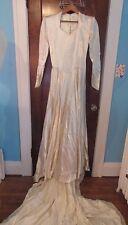 Vtg 50's Lustrous White Satin Wedding Gown Huge Train & Tulle Veil Princess