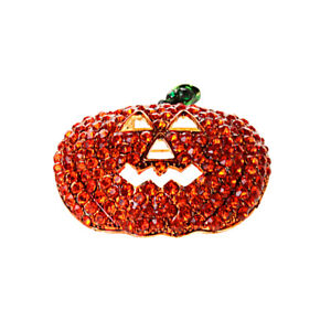 Halloween Pumpkin Brooch Pin Rhinestone Crystal Broach Holiday Jewelry Kids