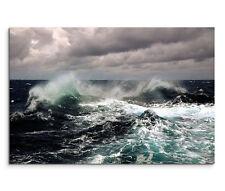 120x80cm Leinwandbild auf Keilrahmen Unwetter Sturm Meer Wellen