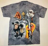 Monkey Collage Primate Jungle Baboon Grey Animal Mountain T-Shirt Cotton M-3X