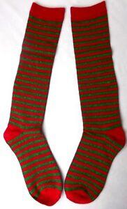 "Holiday Knee High Socks Charter Club Women's "" Lurex Stripe  Red/Green Size 9-11"