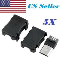5pcs Micro USB 5 Pin T Port Male Plug Socket Connector and Plastic Covers DIY