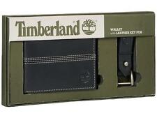 NEW TIMBERLAND MEN'S LEATHER SLIMFOLD WALLET KEY FOB GIFT SET BLACK NP0366/08