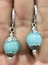 Beautiful manual Tibet Silver 12mm Natural Aquamarine gemstone Earrings