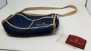 Etienne Aigner Denim Blue Jean Purse Crossbody Large Shoulder Bag Canvas Tan