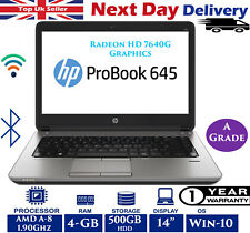 HP ProBook 645 G1 14-inch Laptop AMD A8 1.90Ghz 4GB RAM 500GB HDD Win-10 A Grade