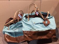 Lot Of 2 Stylish Plastic & Canvas Reusable Tote Bags Light Green/Brown Xl