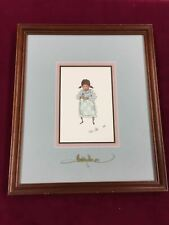"""1989 P. Buckley Moss Dual Signed Framed LE Print """"VIOLET"""" 163/1000 11x13"""