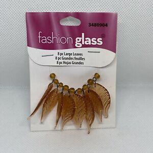 Brown Leaf Charm Fashion Glass 8 Piece. Lot X312