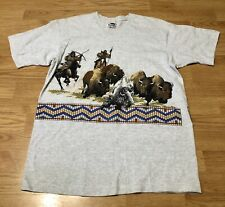 Vintage 90's Buffalo Tag Fruit Of The Loom Buffalo Indians Mens Sz Large T Shirt