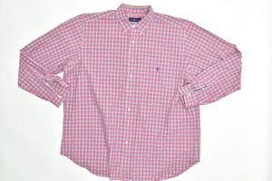Ralph Lauren Men's Adult Sz 2XLT Button Shirt Long Sleeve Plaid Pink Casual Wear