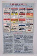 Orig 1960s Chevron Credit Cards Sign gas station repair shop Sohio Imperial Fina