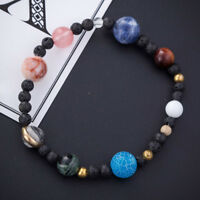 Hot Weave Bracelet Galaxy Solar System Eight Planets Theme Natural Stone Beads