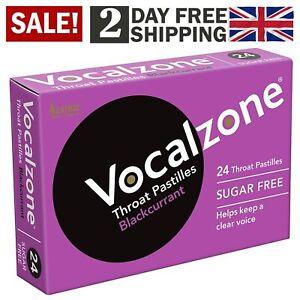 24 Vocalzone Throat Pastilles Sugar Free Blackcurrant Singers Actors Voice