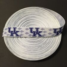 "7/8"" White Kentucky Wildcats MiniLogo Grosgrain Ribbon by the Yard (USA SELLER!)"
