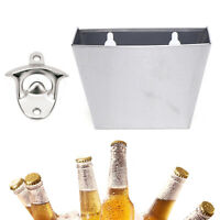 Wall Mount Bar Bottle Beer Opener Cap Stainless Box Catcher with Screws HOT SALE