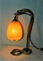 ANCIENNE LAMPE SERPENT EN BRONZE & TULIPE EN PATE DE VERRE h31cm . BUREAU CHEVET