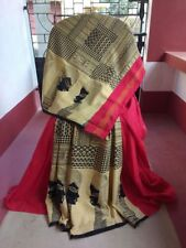 Khesh Gurjari Indian Handloom Saree Kalamkari Kesh Half Style Sari Red Cotton