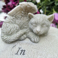 Katze Grabschmuck Katzenfigur Engelsflügel Figur Dekofigur Grabfigur Tiergrab