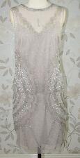 £170 BNWT Jenny Packham ZELDA LAYERED MIDI Natural Party Evening Dress Size 16