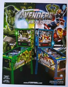 Avengers Pinball FLYER Limited Edition Hulk LE Marvel Comics Superhero Art 2012