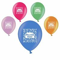 """Welcome Home 11"""" Greetings Assorted Latex Party Decor Balloons + Matching Ribbon"""