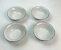 Winterling Bavaria W Germany China Set Of 4 Fruit Dishes White W/Silver Trim