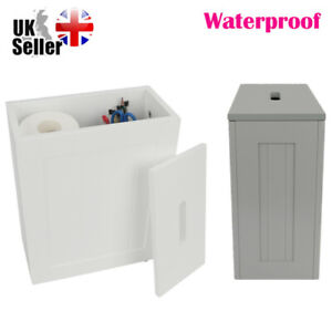 WHITE WOODEN SLIMLINE BATHROOM STORAGE UNIT LAUNDRY TOILET CLEANING TIDY BOX NEW