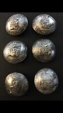 Inca Tribal Design Buttons 6 Vintage Sterling Silver Peruvian