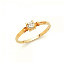 14K Yellow Gold Cubic Zirconia Round Cut Solitaire Ring - Brilliant Love Women