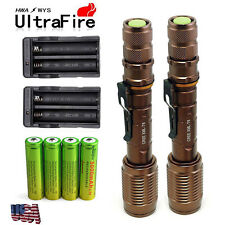 2x8000 Lumen Tactical CREE T6 LED Flashlight Torch + 18650 Battery & Charger MT