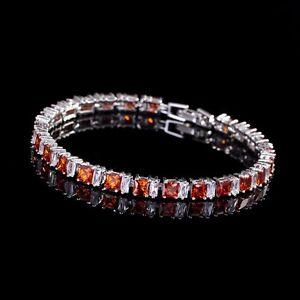 Silver Bracelet with 8.45ctw Red & White Topaz Gemstones