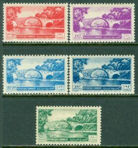 EDW1949SELL : LEBANON 1951 Scott #251-55 High Values. Very Fine, Mint OG Cat $81