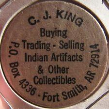 C.J. King Indian Artifacts Ft. Smith, AR Wooden Nickel - Token Arkansas Ark.