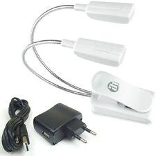 LED Schwanenhalslampe 2-Arm weiß mit Netzteil und USB-Kabel Leselampe Klemmlampe