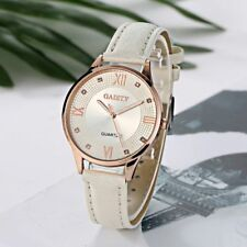 Gold Tone Women's Watch With White Dial Roman panel White Band