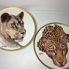 2 Guy Coheleach Lenox Collection Plates Lioness Jaguar Great Cats Of The World